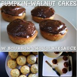 Pumpkin-Walnut Cakes with Bourbon-Chocolate Sauce