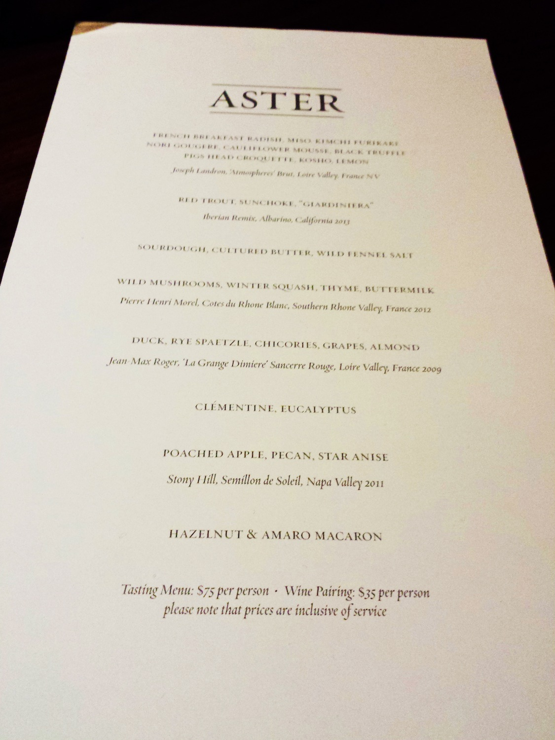 Aster pop-up at Coi