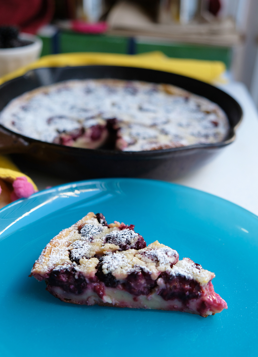 slice of blackberry clafouti