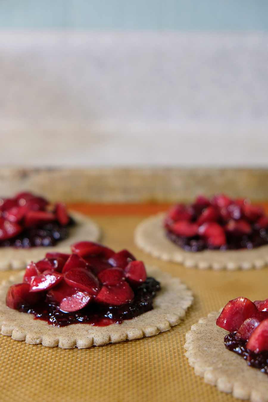 cherry galettes being prepared