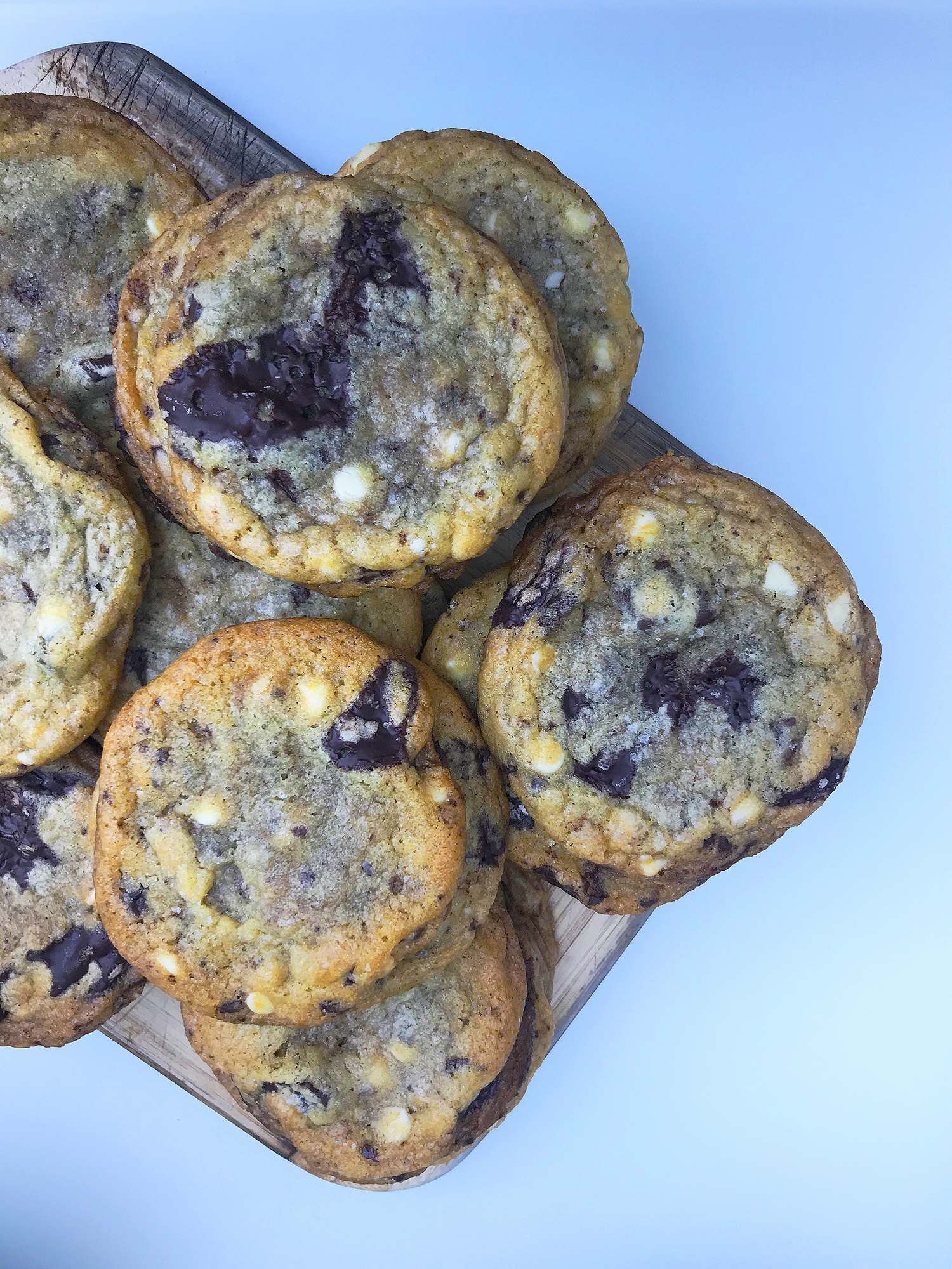 Triple Chocolate Chip Cookies with Sea Salt