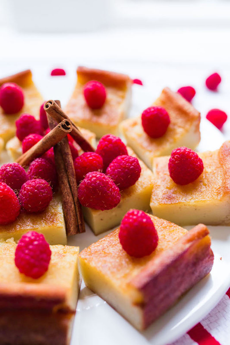 Cinnamon Butter Mochi Cake with Raspberries