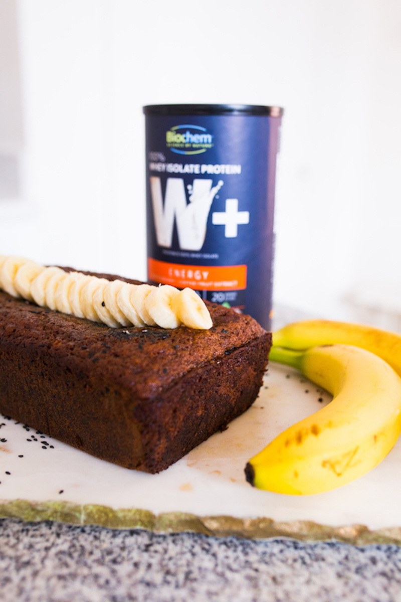 Recipe: Black sesame banana bread with Biochem whey protein