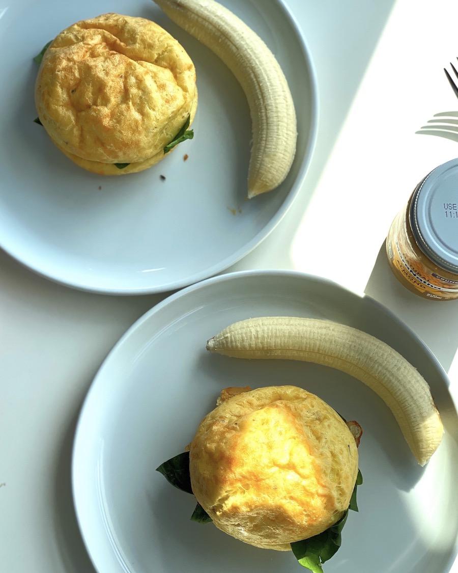 Gougère breakfast sandwiches