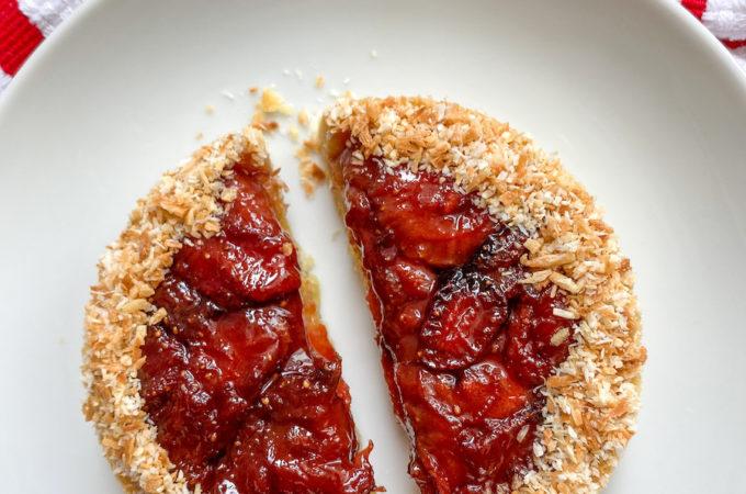 sliced strawberry tart