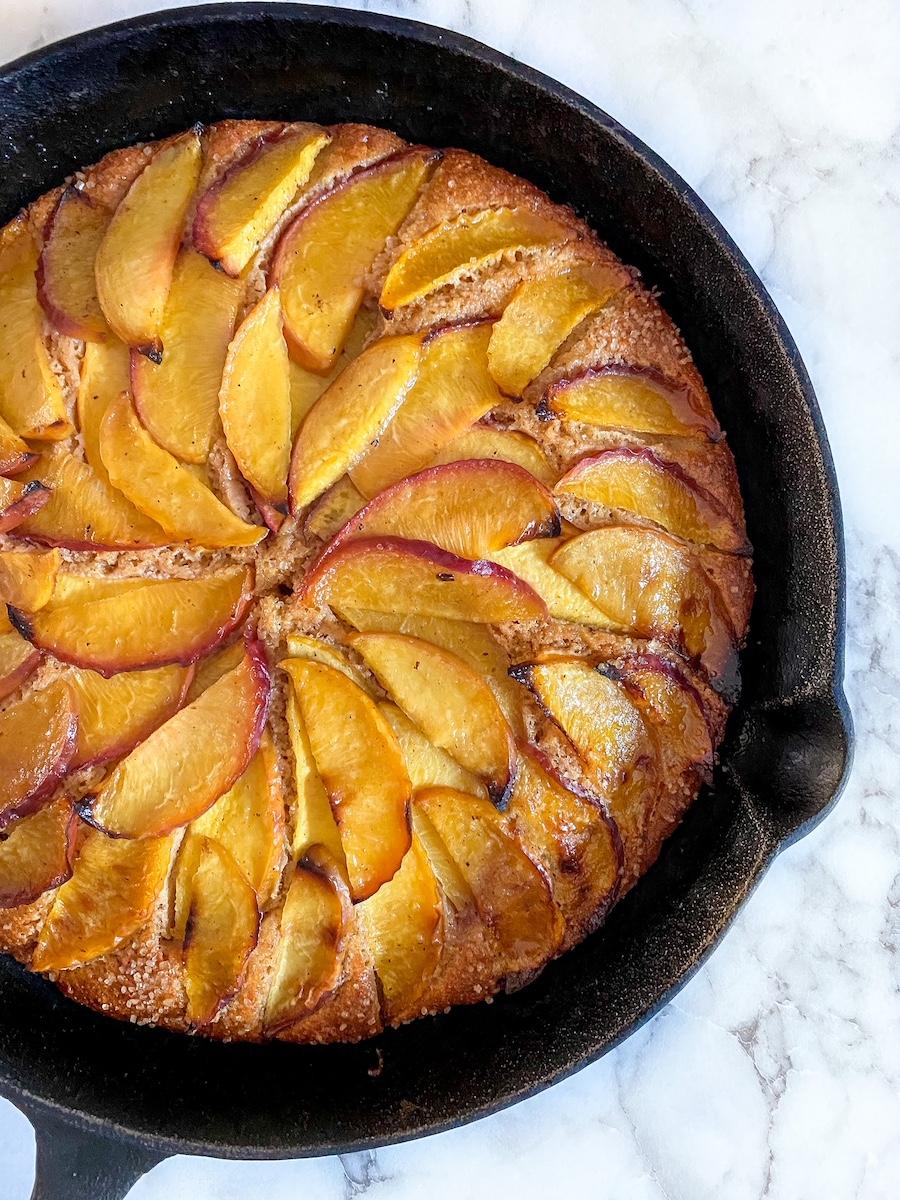 Brown Butter Cornmeal Peach Cake