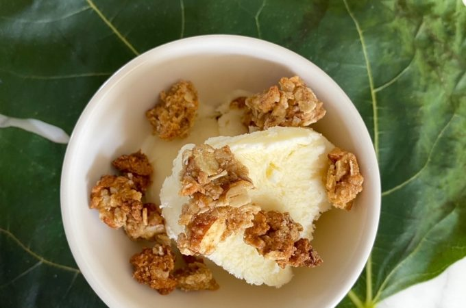 fig leaf ice cream with honey oat crumble