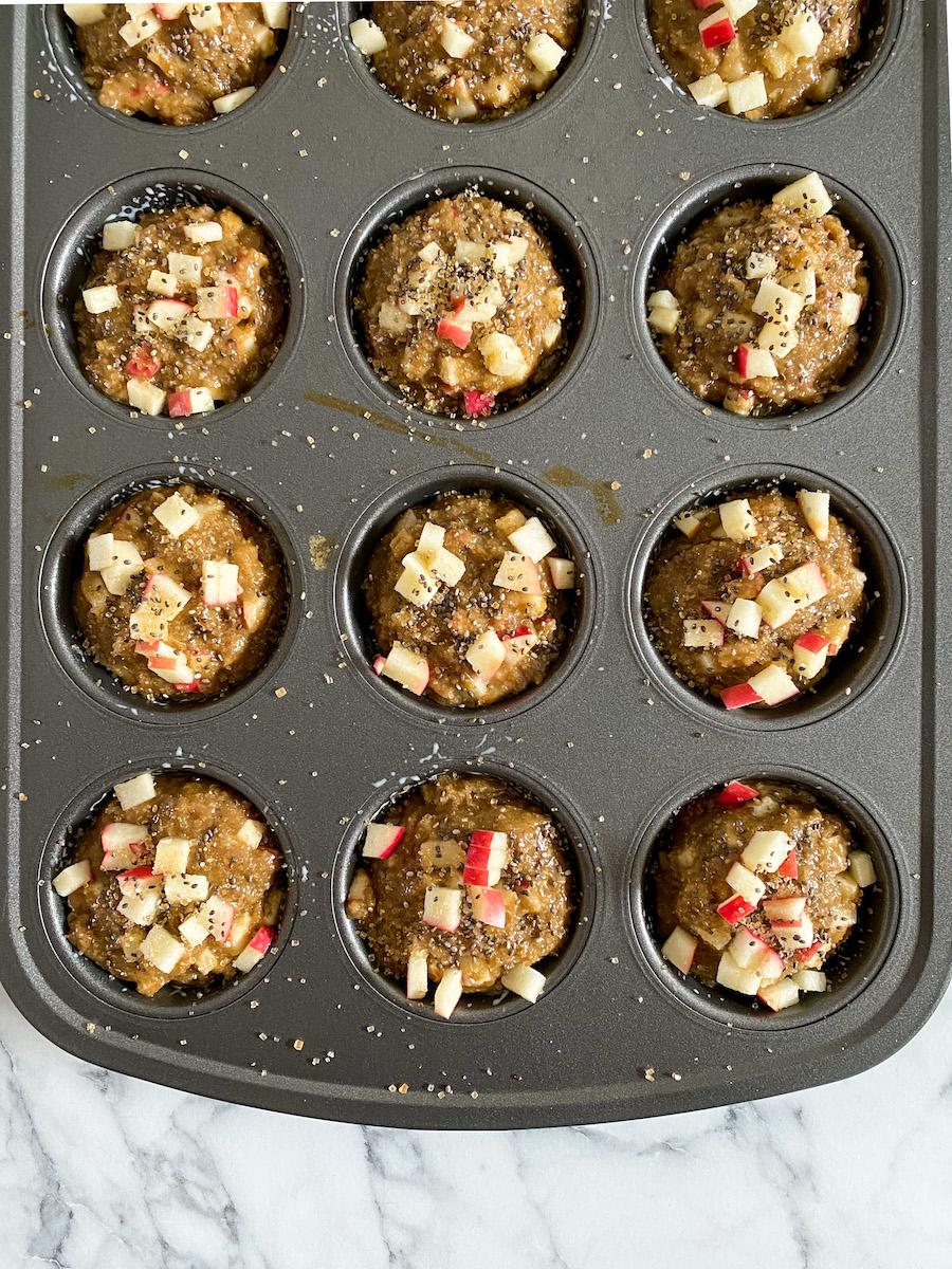 apple sesame muffins before baking